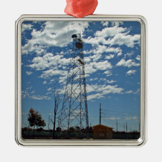 Microwave relay dishes on a communications tower christmas ornament
