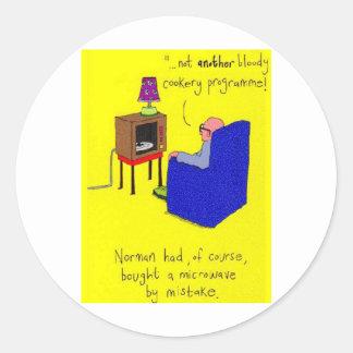 Microwave TV Joke Round Sticker