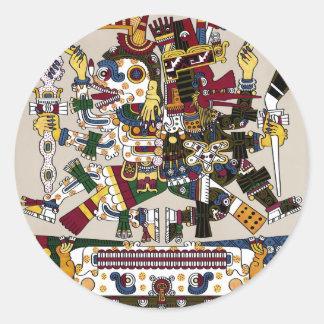 Mictlantecuhtli and Quetzalcoatl Classic Round Sticker