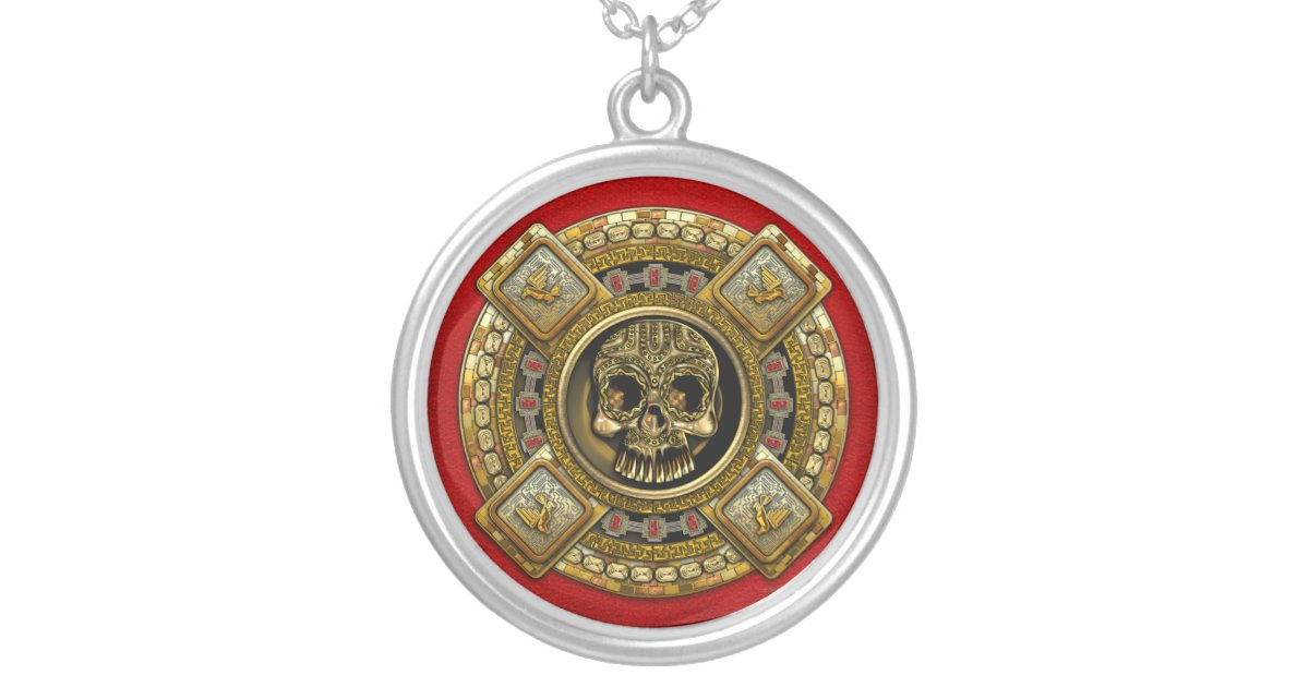 Mictlantecuhtli Aztec God Of Death Silver Plated Necklace Zazzle