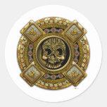 Mictlantecuhtli - dios azteca de la muerte etiqueta redonda