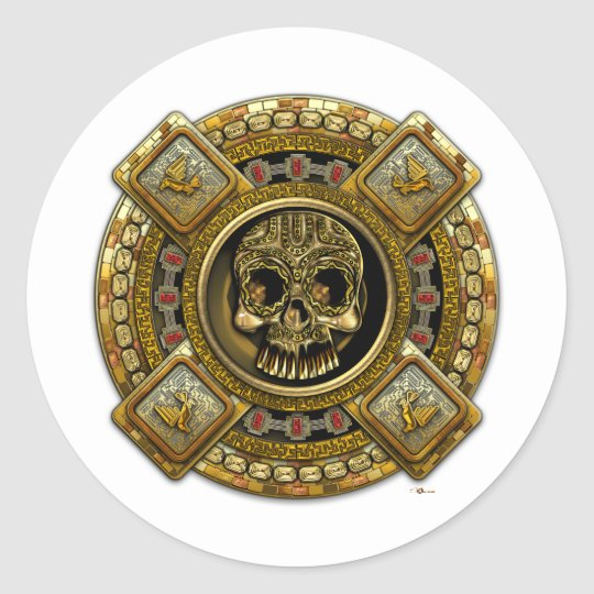 Mictlantecuhtli - dios azteca de la muerte pegatina redonda