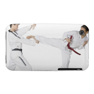 Mid adult man practicing kickboxing with a young iPhone 3 Case-Mate case