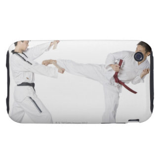 Mid adult man practicing kickboxing with a young iPhone 3 tough covers