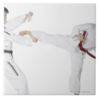 Mid adult man practicing kickboxing with a young ceramic tile