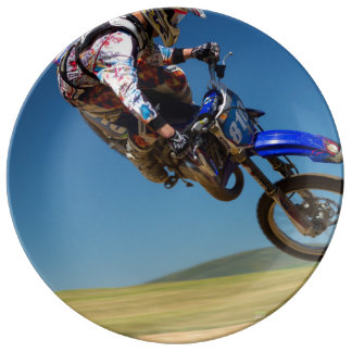 Mid air stunt on a motor bike porcelain plate