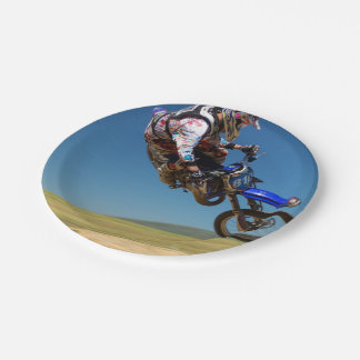 Mid air stunt on a motor bike 7 inch paper plate