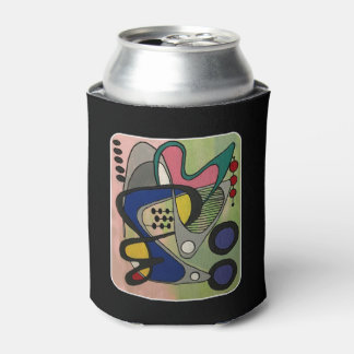 'Mid-Cent Mod Abst, Astro Picnic' painting on a Can Cooler