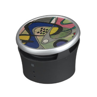 'Mid-Cent Mod Abst, Astro Picnic' painting on a Speaker