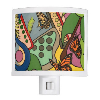 Mid-Century Abstract Butterfly Factory painting on Night Light