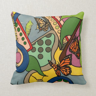 Mid-Century Abstract Butterfly Factory painting on Throw Pillow