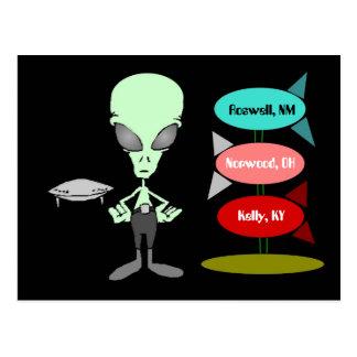 Mid-Century Alien UFO Sighting Hot-spots Postcard