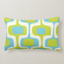 Mid-Century Aqua and Chartreuse Retro Pattern Pillows