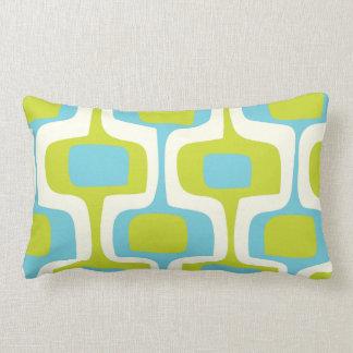Mid-Century Aqua and Chartreuse Retro Pattern Throw Pillows