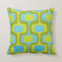 Mid-Century Aqua and Chartreuse Retro Pattern Throw Pillow