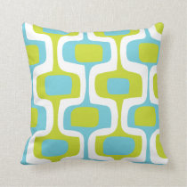 Mid-Century Aqua and Chartreuse Retro Pattern Throw Pillow