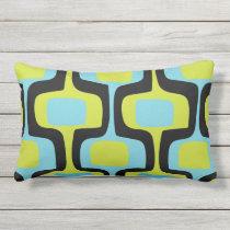 Mid-Century Aqua Chartreuse & Black Retro Pattern Outdoor Pillow