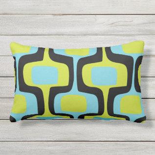 Mid-century Aqua Chartreuse & Black Retro Pattern Outdoor Pillow at Zazzle