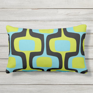 Mid-Century Aqua Chartreuse & Black Retro Pattern Outdoor Pillow