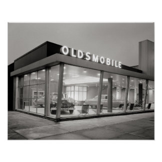 Mid-Century Auto Dealership, 1950. Vintage Photo Poster