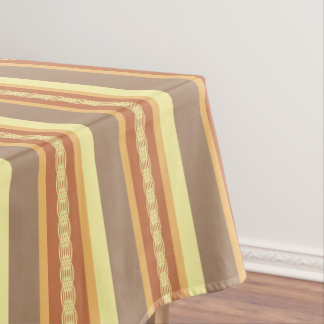 Mid Century Awning Stripe   Earth Neutrals Tablecloth