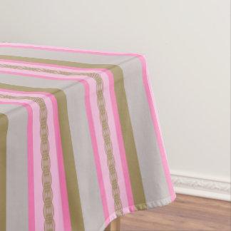 Mid-Century awning stripe - grey / gray, pink, tan Tablecloth