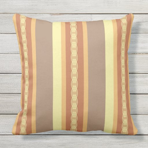 Mid Century Outdoor Pillows : Mid-Century awning stripe - Mustard Yellow and Tan Outdoor Pillow Zazzle