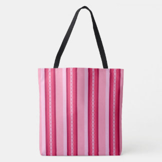 Mid-Century awning stripe - pink and wine Tote Bag