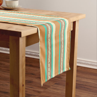 Mid-Century awning stripe - tan & turquoise Short Table Runner