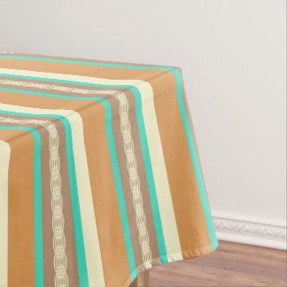 Mid-Century awning stripe - tan & turquoise Tablecloth