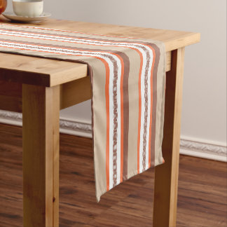 Mid-Century awning stripe - taupe and coral Short Table Runner
