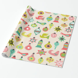 Mid Century Bird and Ornament Pattern Wrapping Paper