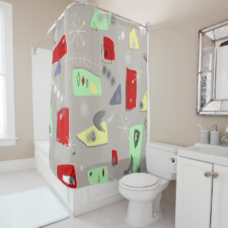 Mid-Century Boomerangs and Abstracts Shower Curtain
