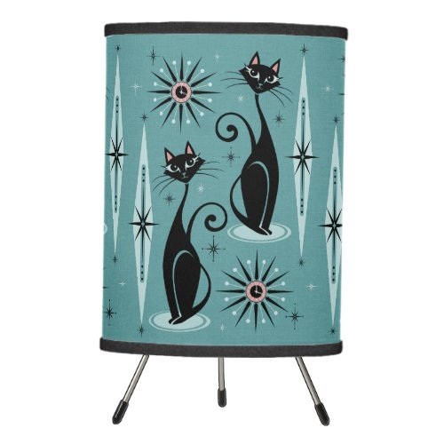 Mid Century Cats and Clocks Large Scale on Blue Tripod Lamp