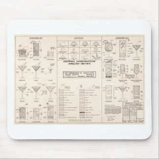 Mid Century Cocktail Construction Chart Mouse Pad