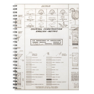 Mid Century Cocktail Construction Chart Notebooks