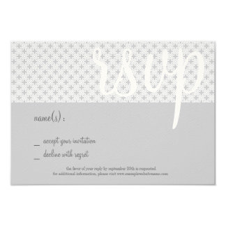 Mid-Century Coordinating RSVP Card, Gray Lattice Card