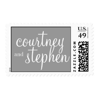 Mid-Century Coordinating Wedding Postage, Gray Postage Stamp