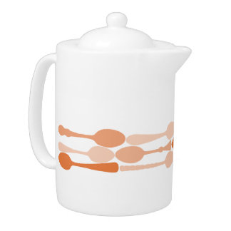 Mid-Century Coral Spoon Pattern Silhouette Teapot