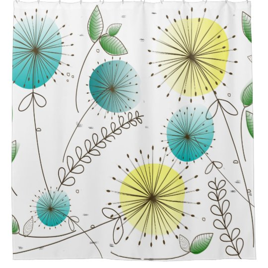 Mid Century Dandelion Clocks Yellow And Blue Shower Curtain
