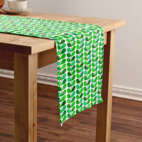 Mid Century Danish Leaves, Emerald And Lime Green Short Table Runner