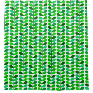 mid century danish leaves emerald and lime green shower curtain