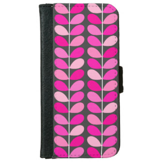Mid Century Danish Leaves, Fuchsia Pink and Gray iPhone 6/6s Wallet Case
