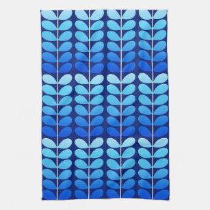 Mid Century Danish Leaves, Navy And Cobalt Blue Kitchen Towel