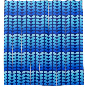 Mid Century Danish Leaves Navy And Cobalt Blue Shower Curtain