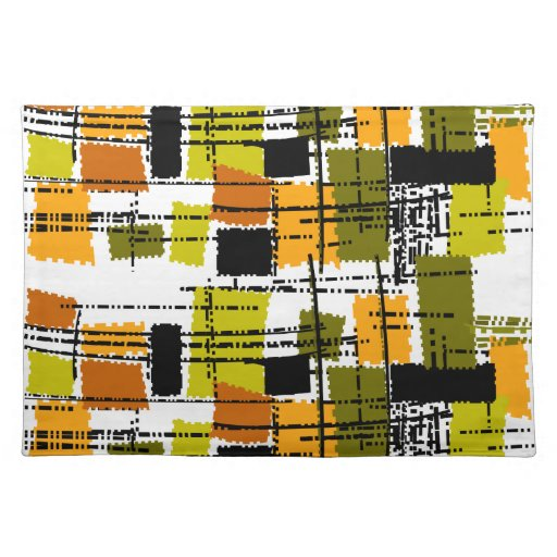 Mid-Century Design Style Placemats Barkcloth Style