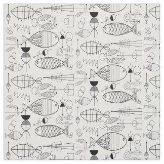 Mid-Century Fish Art Black and White Fabric