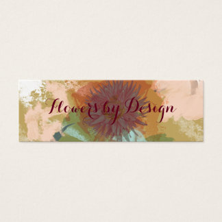 Mid Century Floral Abstract Blush Mint Green Gold Mini Business Card