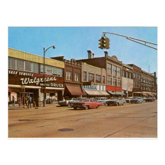 Mid-century Gary IN - 6th & Broadway Post Card