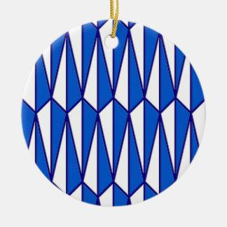 Mid-Century geometric, cobalt and white Ceramic Ornament